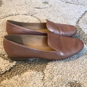 Rose Gold Leather Flats, Size 8.5